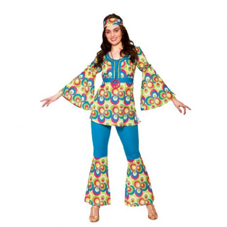 Ladies Funky Hippy Chick Costume for Hippie 60s 70s Retro Vintage Fancy Dress